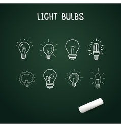 set of Hand-drawn light bulbs doodle icons on vector image