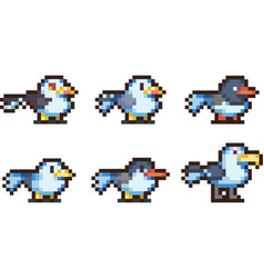 Set of pixel birds vector