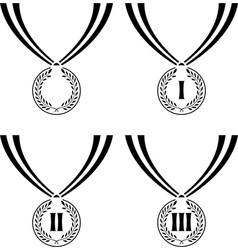 set of stencils of medals vector image
