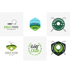 Set of vintage color golf championship logos vector image