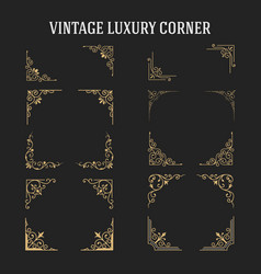Set of vintage luxury corner design vector