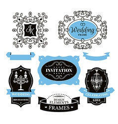 Set of wedding frames and labels vector image