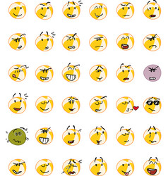 Set of yellow beach ball character emojis vector