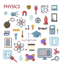 set scientific physics flat icons vector image