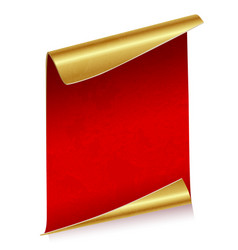 Sheet of red parchment paper with golden edges vector