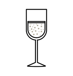 Silhouette monochrome with glass of champagne sour vector