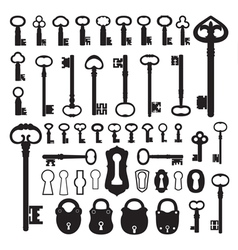 Silhouettes of old keys vector