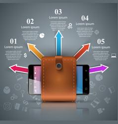 Smartphone wallet cash - business infographic vector