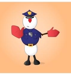Snowman policeman vector image