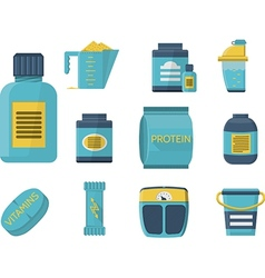 Sport supplements flat blue icons vector