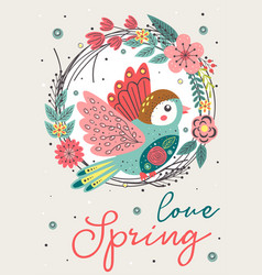 spring card with beautiful bird in floral frame vector image