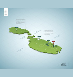 Stylized map malta isometric 3d green map vector