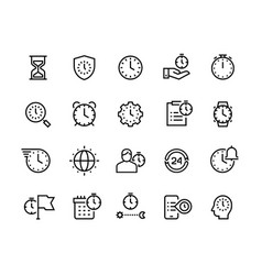 Time management line icons stopwatch alarm vector