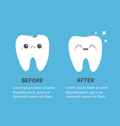 Tooth icon set before after infographic template vector