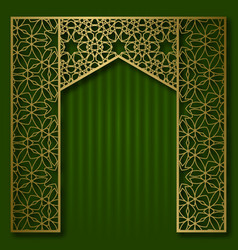 traditional background with golden arched frame vector image
