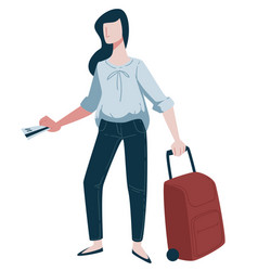 Traveling woman traveler with boarding pass and vector