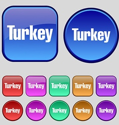 Turkey icon sign A set of twelve vintage buttons vector
