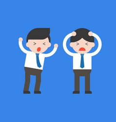 Two panic businessman conflict and problem in vector