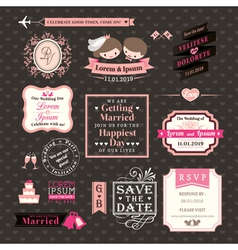 Wedding elements labels and frames vintage style vector