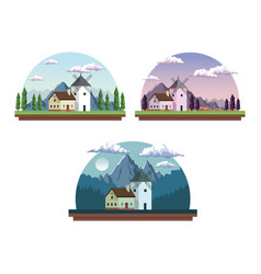 white background with half round frames set vector image