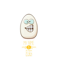 White egg cartoon characters isolated on white vector