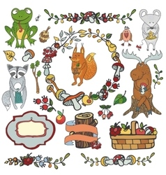 Wild animals decor elementsWoodland autumn vector image
