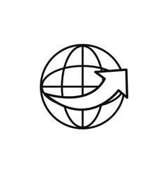 world around service technology internet line vector image