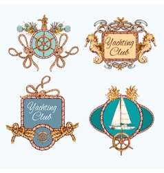 Yachting sketch emblems set vector image