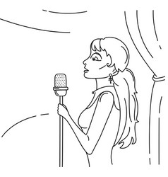 young beautiful woman singing on stage in vector image