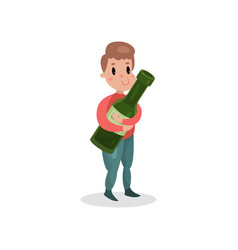 young man holding giant bottle of alcohol harmful vector image