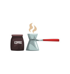 coffee brewed in cezve and package of coffee vector image