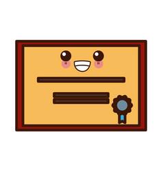 education diploma certification kawaii cute vector image