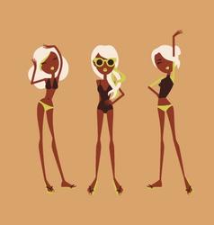 fashion girls in bikini vector image vector image
