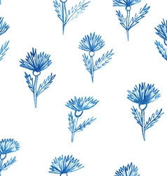 pattern flowers aquarelle cornflower vector image