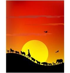 silhouette of wildlife safari vector image vector image