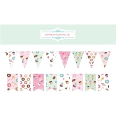 Birthday bunting flags set vector image vector image