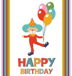 Birthday card with clown vector image