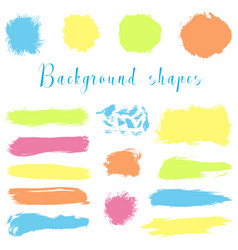 colorful ink borders brush strokes stains vector image