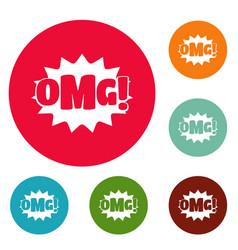 comic boom omg icons circle set vector image