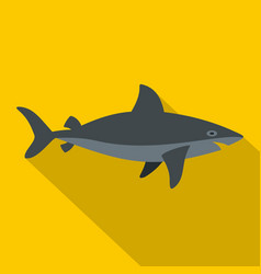 grey shark fish icon flat style vector image vector image