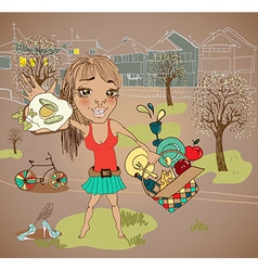 Summer picnic cartoon with funny girl vector image vector image