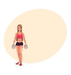 Young woman female bodybuilder weightlifter vector