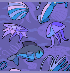 aquatic seamless pattern stock vector image