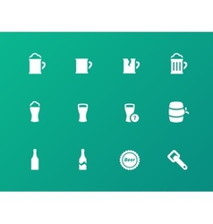 Bottle and glass of beer icons on green background vector image vector image