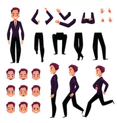 businessman man character creation set with vector image