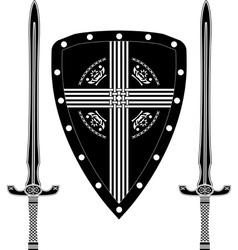 fantasy shield and swords of european warriors vector image vector image