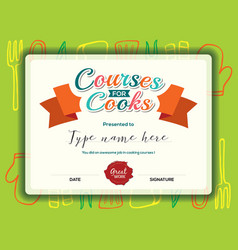 Kids Cooking courses certificate design template vector image vector image