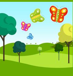 meadow with butterflies vector image vector image