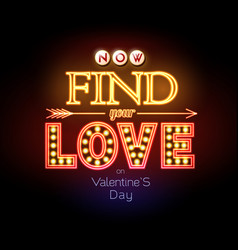 neon sign valentines day typography background vector image vector image