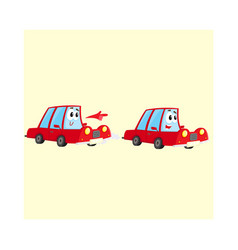 two red car characters racing hurrying somewhere vector image